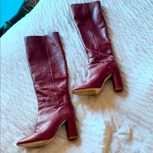Genuine leather boots -red